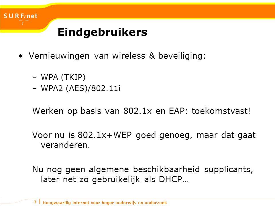 Hoogwaardig internet voor hoger onderwijs en onderzoek 3 Eindgebruikers Vernieuwingen van wireless & beveiliging: –WPA (TKIP) –WPA2 (AES)/802.11i Werken op basis van 802.1x en EAP: toekomstvast.