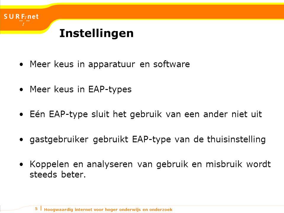 Hoogwaardig internet voor hoger onderwijs en onderzoek 5 Instellingen Meer keus in apparatuur en software Meer keus in EAP-types Eén EAP-type sluit he