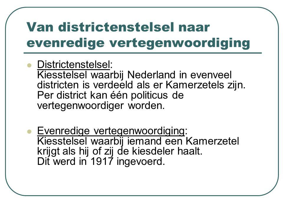 Van districtenstelsel naar evenredige vertegenwoordiging Districtenstelsel: Kiesstelsel waarbij Nederland in evenveel districten is verdeeld als er Ka