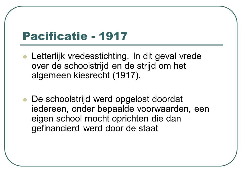 Pacificatie - 1917 Letterlijk vredesstichting. In dit geval vrede over de schoolstrijd en de strijd om het algemeen kiesrecht (1917). De schoolstrijd