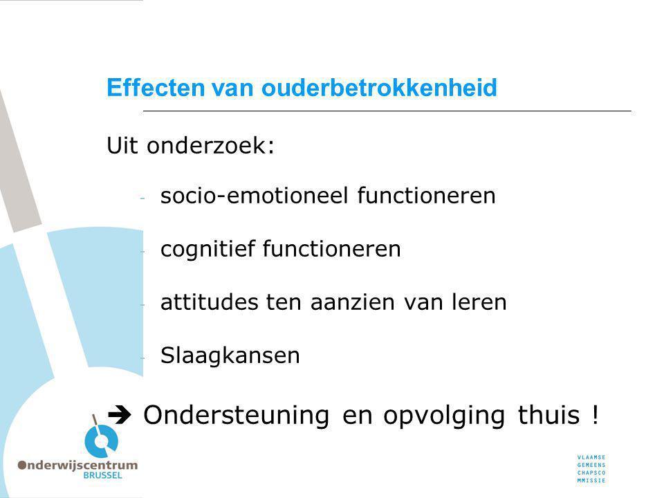 Uit onderzoek: - socio-emotioneel functioneren - cognitief functioneren - attitudes ten aanzien van leren - Slaagkansen  Ondersteuning en opvolging t