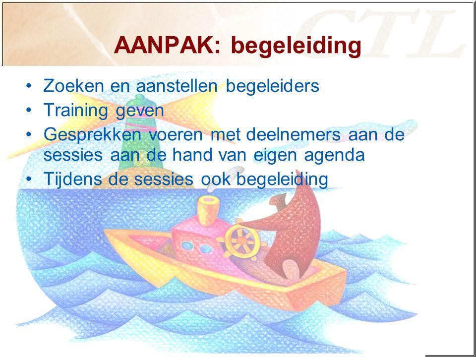 AANPAK: begeleiding Zoeken en aanstellen begeleiders Training geven Gesprekken voeren met deelnemers aan de sessies aan de hand van eigen agenda Tijdens de sessies ook begeleiding