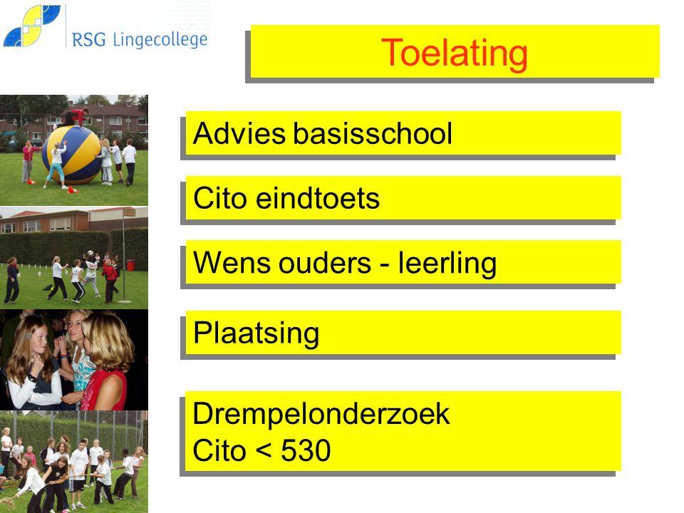 Toelating Advies basisschool Cito eindtoets Drempelonderzoek Cito < 530 Drempelonderzoek Cito < 530 Wens ouders - leerling Plaatsing