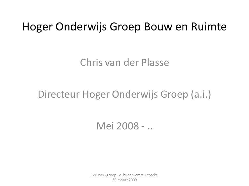 Hoger Onderwijs Groep Bouw en Ruimte Chris van der Plasse Directeur Hoger Onderwijs Groep (a.i.) Mei 2008 -.. EVC werkgroep 1e bijeenkomst Utrecht, 30