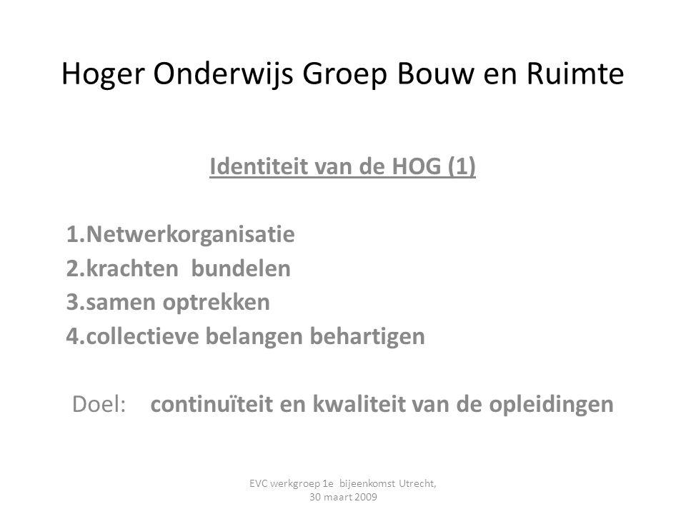 Hoger Onderwijs Groep Bouw en Ruimte Identiteit van de HOG (1) 1.Netwerkorganisatie 2.krachten bundelen 3.samen optrekken 4.collectieve belangen behar