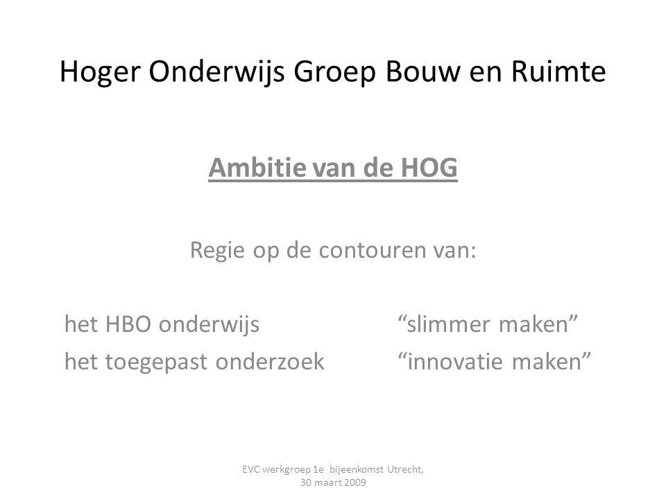 """Hoger Onderwijs Groep Bouw en Ruimte Ambitie van de HOG Regie op de contouren van: het HBO onderwijs """"slimmer maken"""" het toegepast onderzoek """"innovati"""
