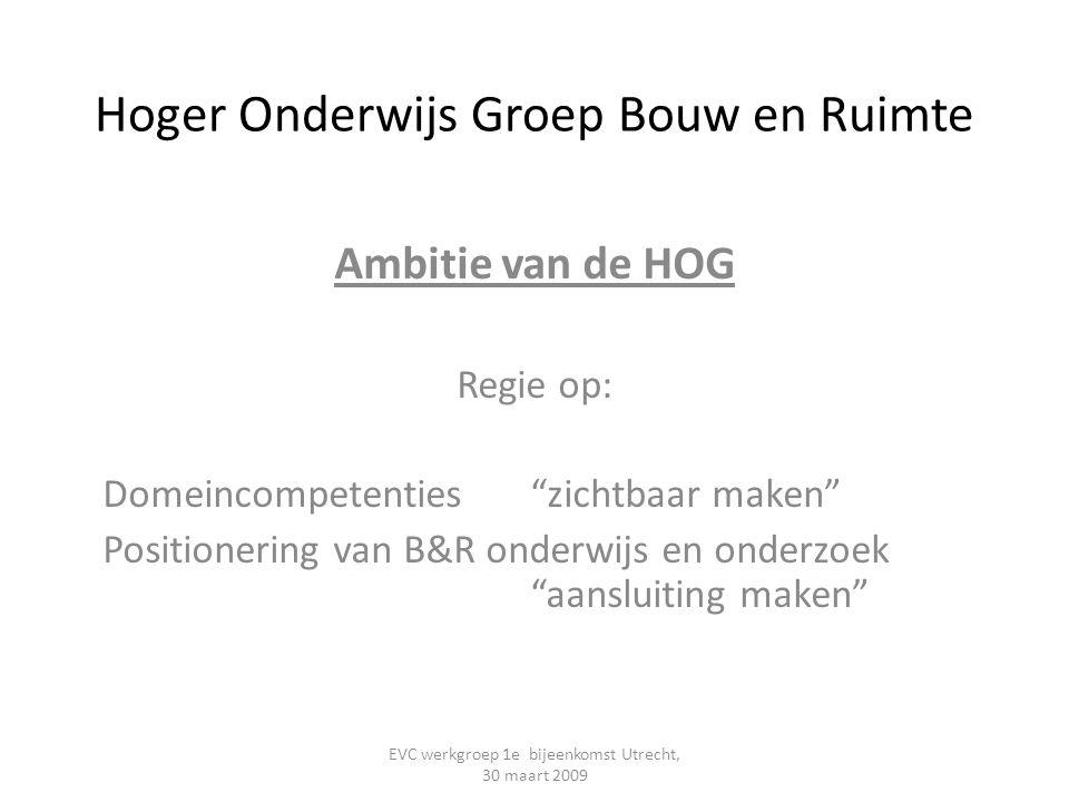 """Hoger Onderwijs Groep Bouw en Ruimte Ambitie van de HOG Regie op: Domeincompetenties """"zichtbaar maken"""" Positionering van B&R onderwijs en onderzoek """"a"""