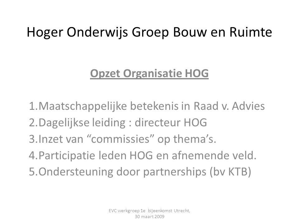 Hoger Onderwijs Groep Bouw en Ruimte Opzet Organisatie HOG 1.Maatschappelijke betekenis in Raad v. Advies 2.Dagelijkse leiding : directeur HOG 3.Inzet