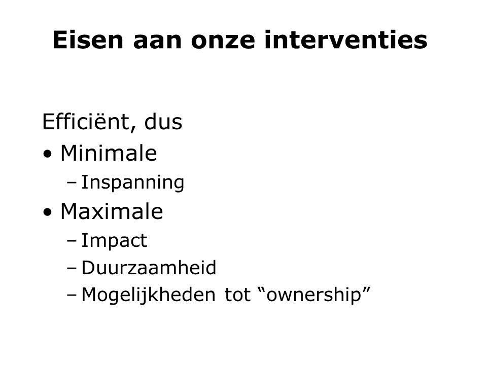 Eisen aan onze interventies Efficiënt, dus Minimale –Inspanning Maximale –Impact –Duurzaamheid –Mogelijkheden tot ownership