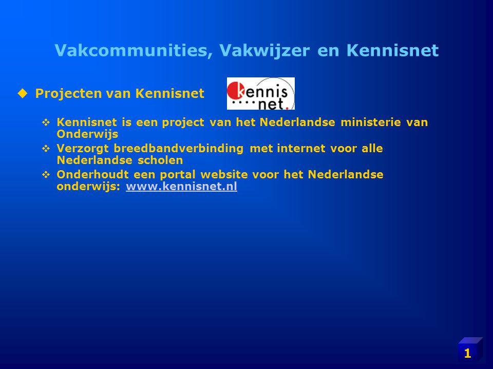 1 Vakcommunities, Vakwijzer en Kennisnet  Projecten van Kennisnet  Kennisnet is een project van het Nederlandse ministerie van Onderwijs  Verzorgt