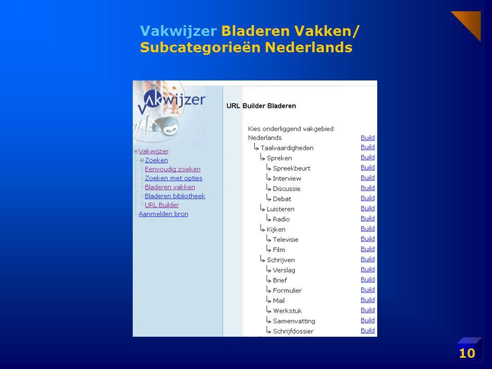10 Vakwijzer Bladeren Vakken/ Subcategorieën Nederlands