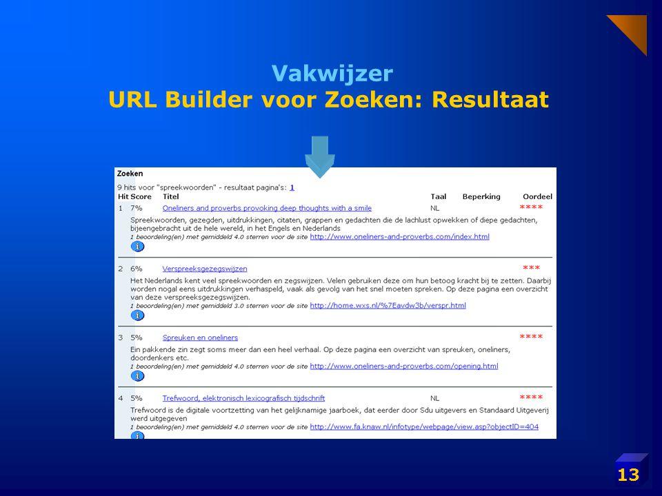 13 Vakwijzer URL Builder voor Zoeken: Resultaat