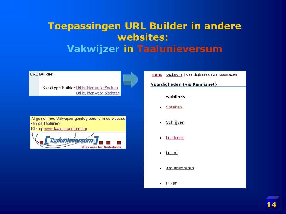 14 Toepassingen URL Builder in andere websites: Vakwijzer in Taalunieversum