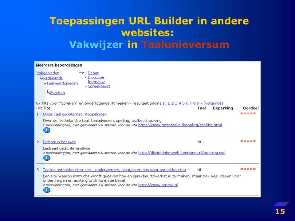 15 Toepassingen URL Builder in andere websites: Vakwijzer in Taalunieversum