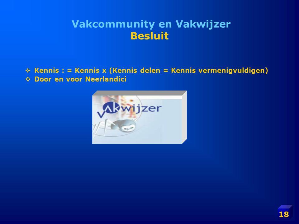 18 Vakcommunity en Vakwijzer Besluit  Kennis : = Kennis x (Kennis delen = Kennis vermenigvuldigen)  Door en voor Neerlandici
