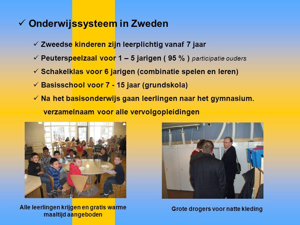 Onderwijssysteem in Zweden Zweedse kinderen zijn leerplichtig vanaf 7 jaar Peuterspeelzaal voor 1 – 5 jarigen ( 95 % ) participatie ouders Schakelklas
