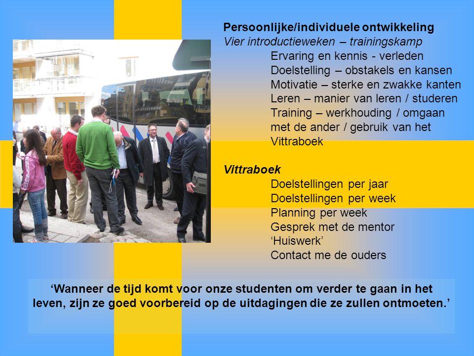 Persoonlijke/individuele ontwikkeling Vier introductieweken – trainingskamp Ervaring en kennis - verleden Doelstelling – obstakels en kansen Motivatie