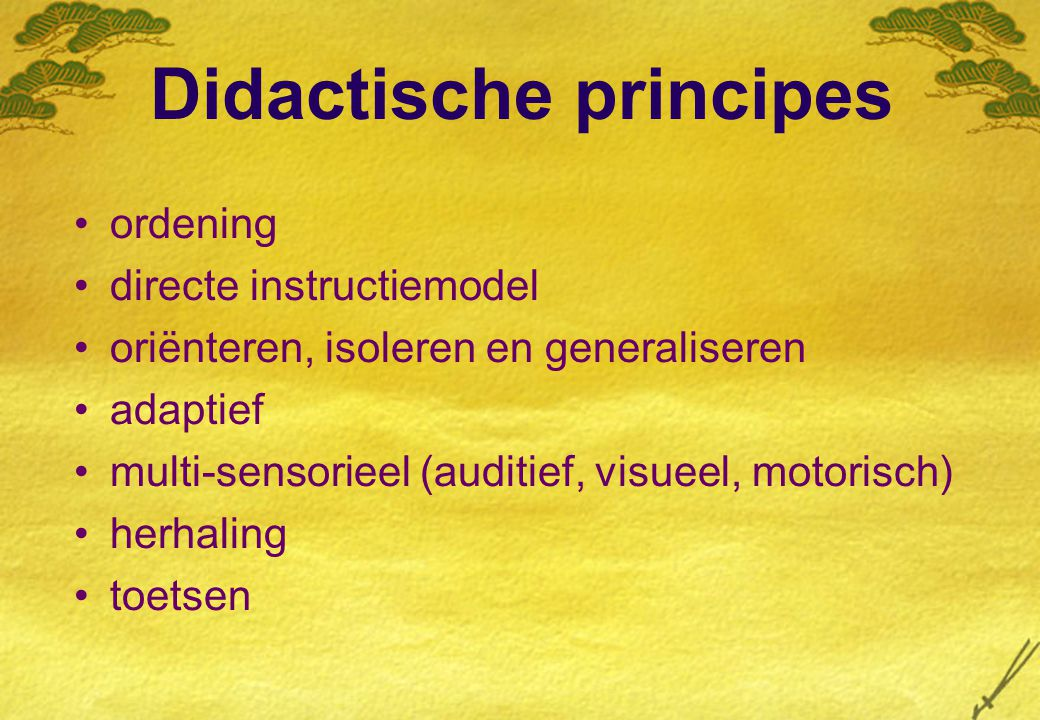 Didactische principes ordening directe instructiemodel oriënteren, isoleren en generaliseren adaptief multi-sensorieel (auditief, visueel, motorisch) herhaling toetsen