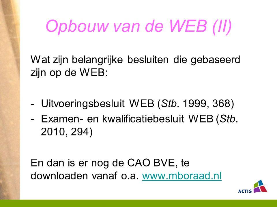 Opbouw van de WEB (II) Wat zijn belangrijke besluiten die gebaseerd zijn op de WEB: -Uitvoeringsbesluit WEB (Stb.