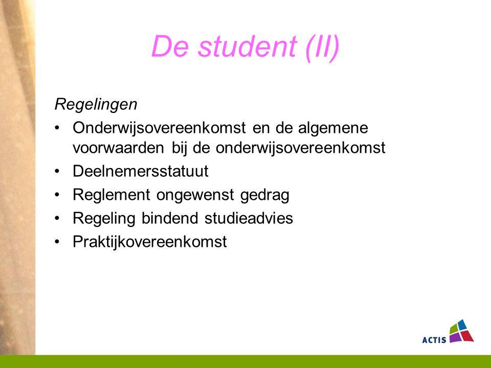 De student (II) Regelingen Onderwijsovereenkomst en de algemene voorwaarden bij de onderwijsovereenkomst Deelnemersstatuut Reglement ongewenst gedrag Regeling bindend studieadvies Praktijkovereenkomst