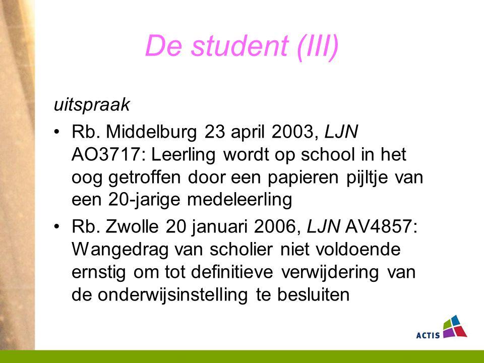 De student (III) uitspraak Rb.