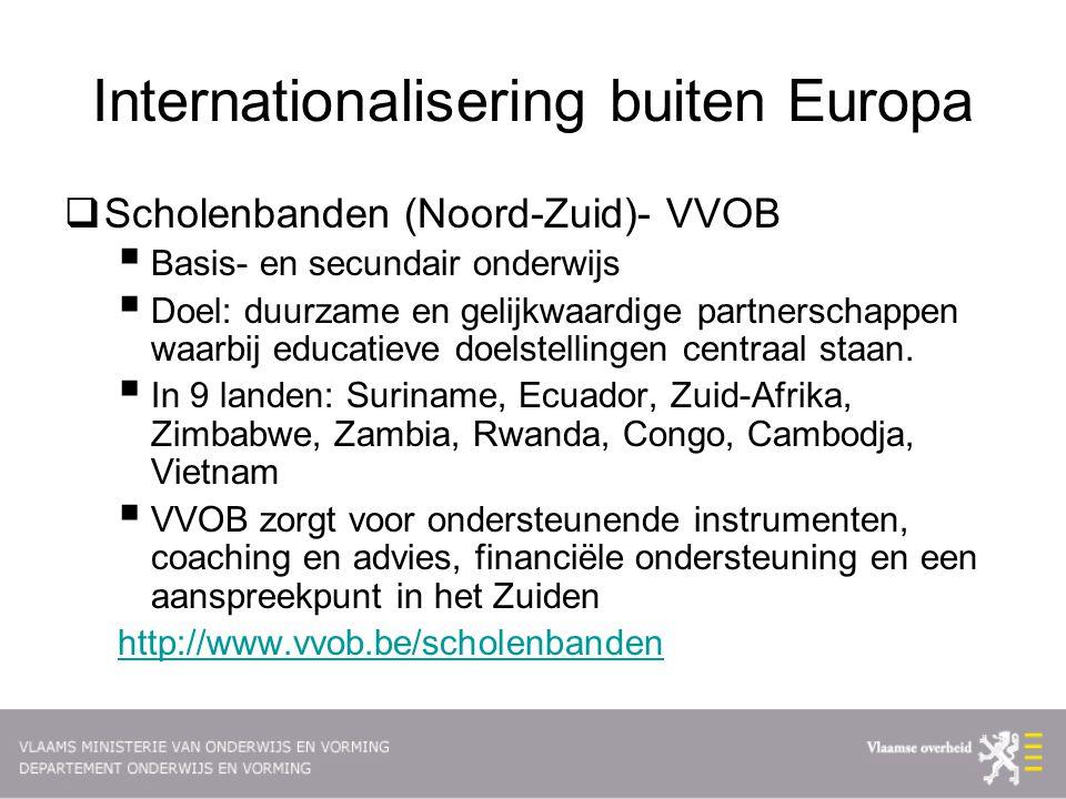 Internationalisering buiten Europa  Scholenbanden (Noord-Zuid)- VVOB  Basis- en secundair onderwijs  Doel: duurzame en gelijkwaardige partnerschappen waarbij educatieve doelstellingen centraal staan.
