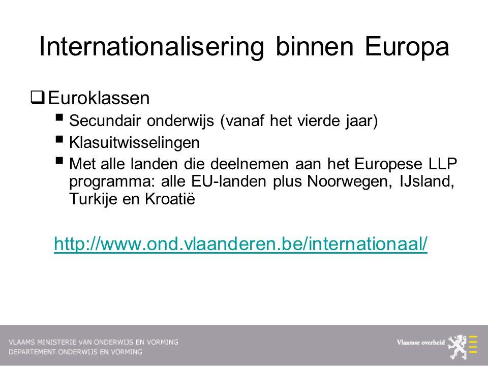 Internationalisering binnen Europa  Euroklassen  Secundair onderwijs (vanaf het vierde jaar)  Klasuitwisselingen  Met alle landen die deelnemen aan het Europese LLP programma: alle EU-landen plus Noorwegen, IJsland, Turkije en Kroatië http://www.ond.vlaanderen.be/internationaal/