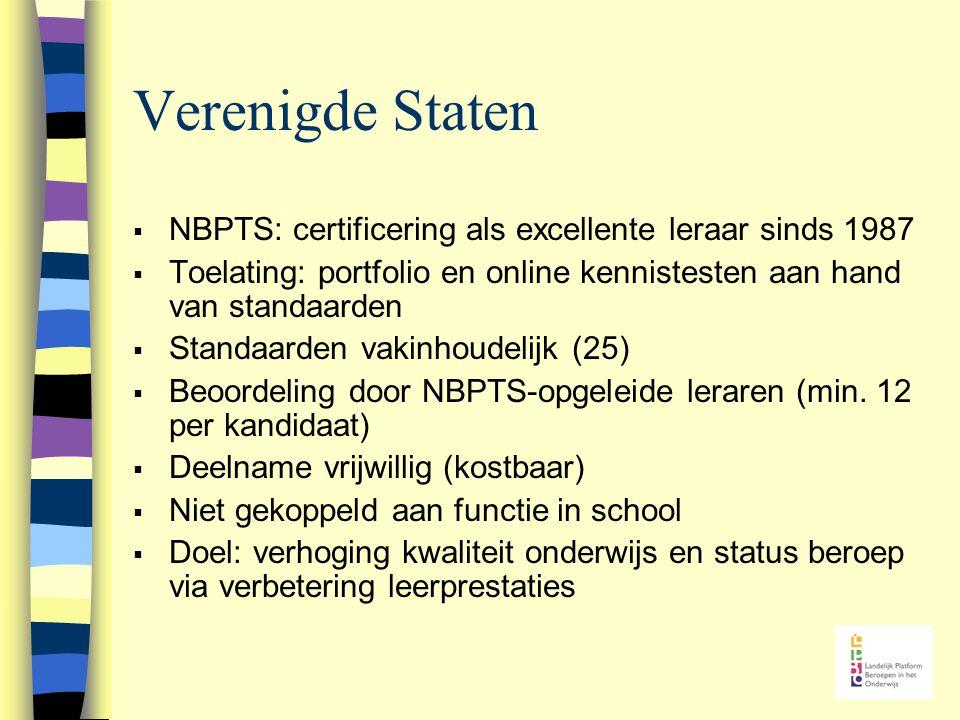 Verenigde Staten  NBPTS: certificering als excellente leraar sinds 1987  Toelating: portfolio en online kennistesten aan hand van standaarden  Standaarden vakinhoudelijk (25)  Beoordeling door NBPTS-opgeleide leraren (min.