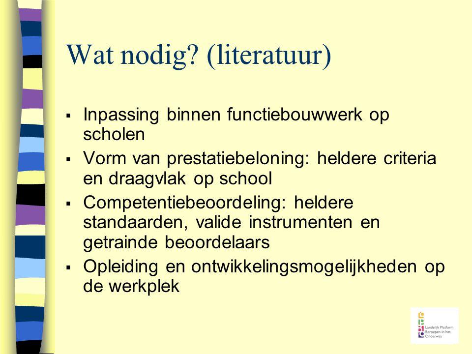 Wat nodig? (literatuur)  Inpassing binnen functiebouwwerk op scholen  Vorm van prestatiebeloning: heldere criteria en draagvlak op school  Competen