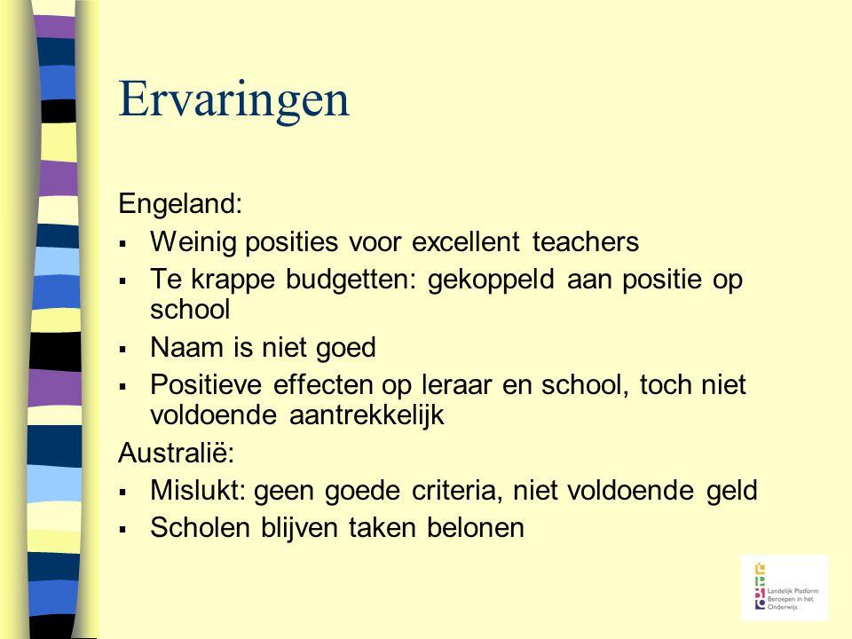 Ervaringen Engeland:  Weinig posities voor excellent teachers  Te krappe budgetten: gekoppeld aan positie op school  Naam is niet goed  Positieve