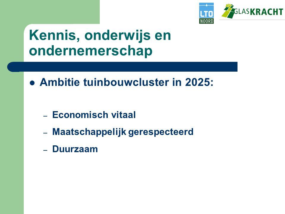 Kennis, onderwijs en ondernemerschap Ambitie tuinbouwcluster in 2025: – Economisch vitaal – Maatschappelijk gerespecteerd – Duurzaam