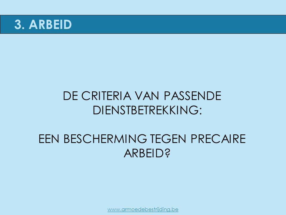 DE CRITERIA VAN PASSENDE DIENSTBETREKKING: EEN BESCHERMING TEGEN PRECAIRE ARBEID? 3. ARBEID www.armoedebestrijding.be