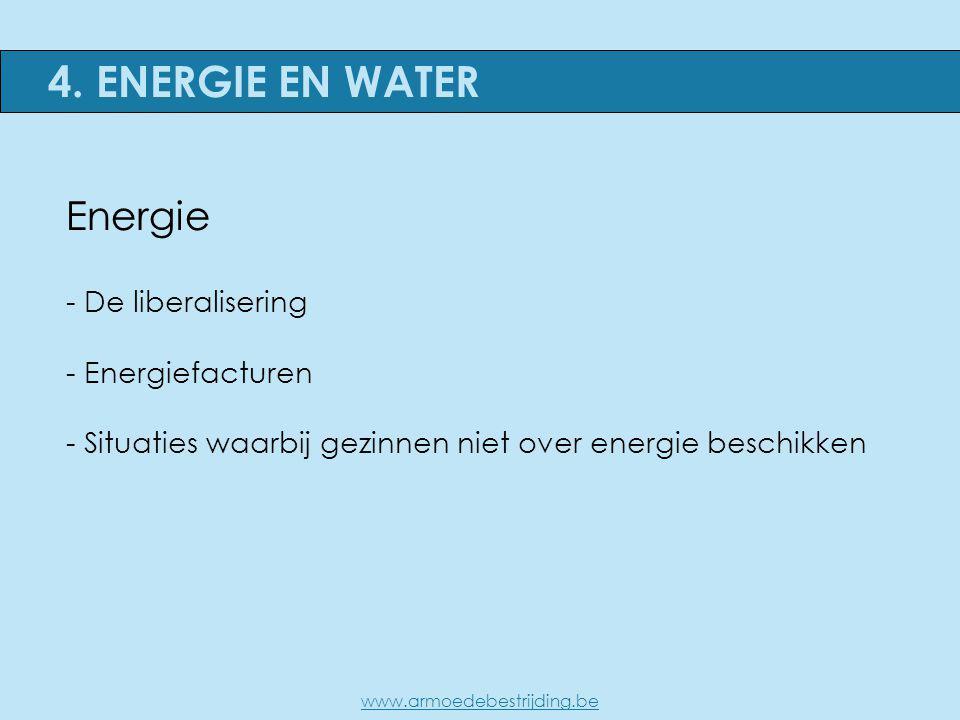 Energie - De liberalisering - Energiefacturen - Situaties waarbij gezinnen niet over energie beschikken 4. ENERGIE EN WATER www.armoedebestrijding.be