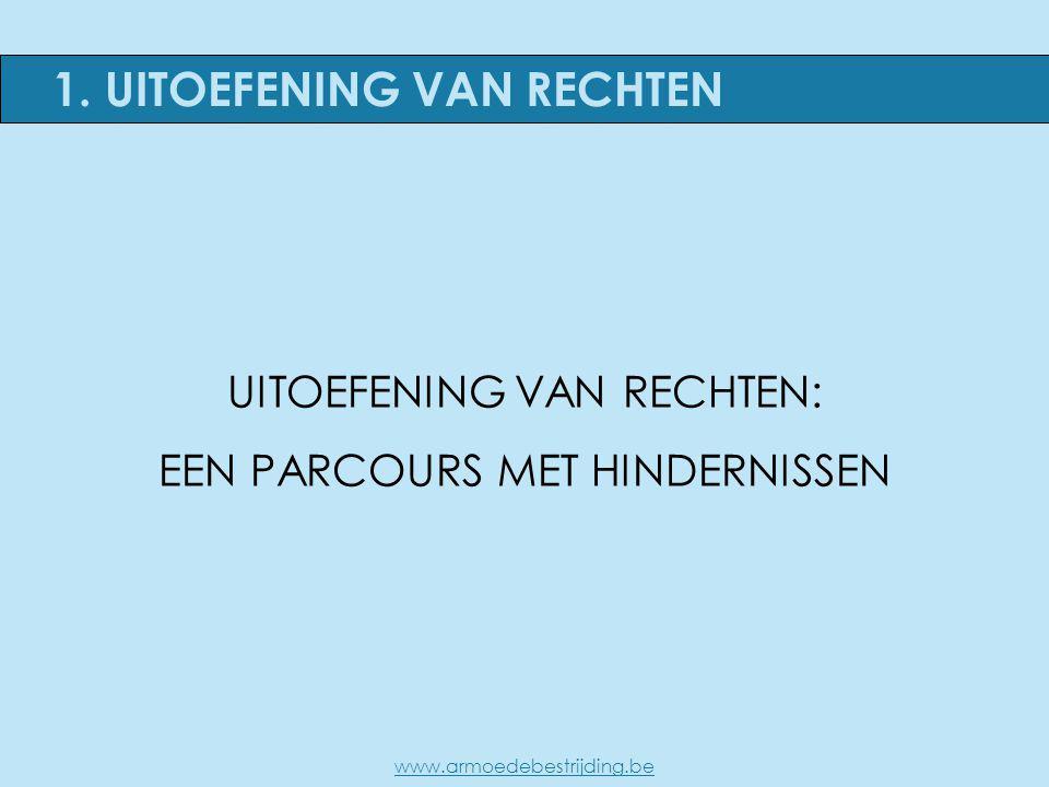 1. UITOEFENING VAN RECHTEN UITOEFENING VAN RECHTEN: EEN PARCOURS MET HINDERNISSEN www.armoedebestrijding.be