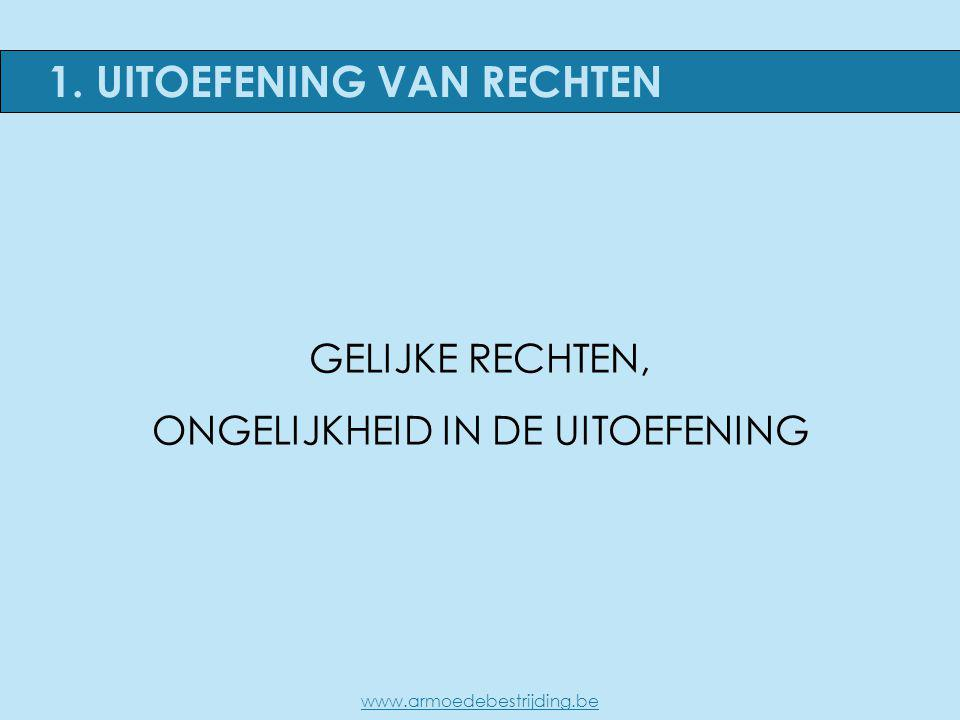 1. UITOEFENING VAN RECHTEN GELIJKE RECHTEN, ONGELIJKHEID IN DE UITOEFENING www.armoedebestrijding.be