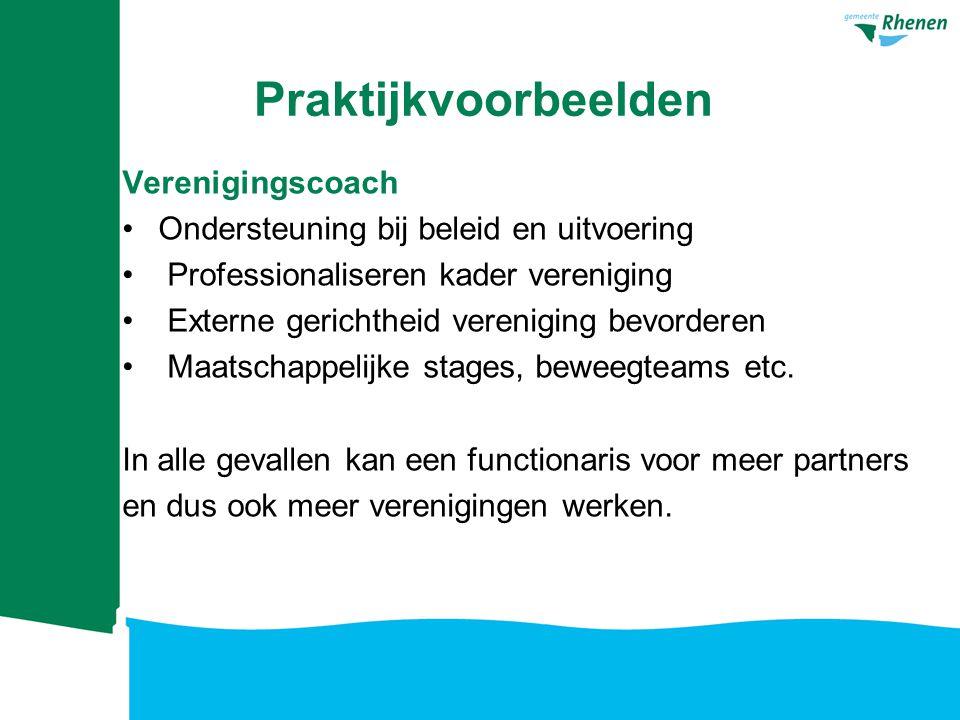 Voorbeeld uitgewerkt Vakleerkracht sport, tevens actief bij 2 verenigingen Onderwijs: 20 uur Sportvereniging 1: 10 uur Sportvereniging 2: 10 uur Financiering Rijk:€ 20.000 Gemeente:€ 20.000 Onderwijs:€ 5.000 Sportvereniging 1:€ 2.500 Sportvereniging 2:€ 2.500