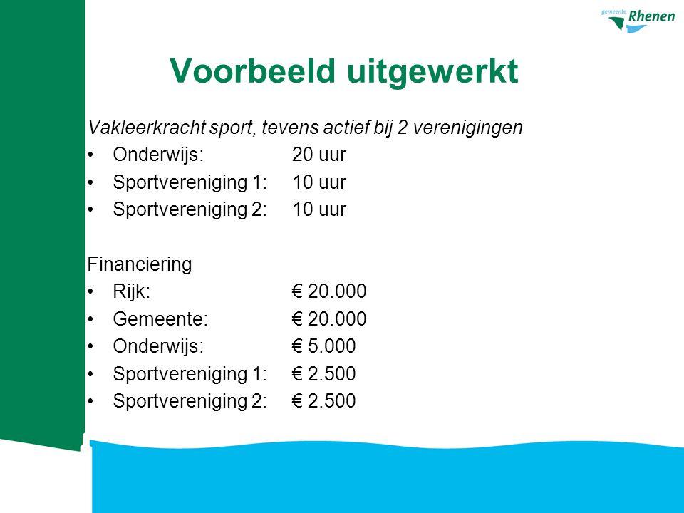 Voorbeeld uitgewerkt Vakleerkracht sport, tevens actief bij 2 verenigingen Onderwijs: 20 uur Sportvereniging 1: 10 uur Sportvereniging 2: 10 uur Finan