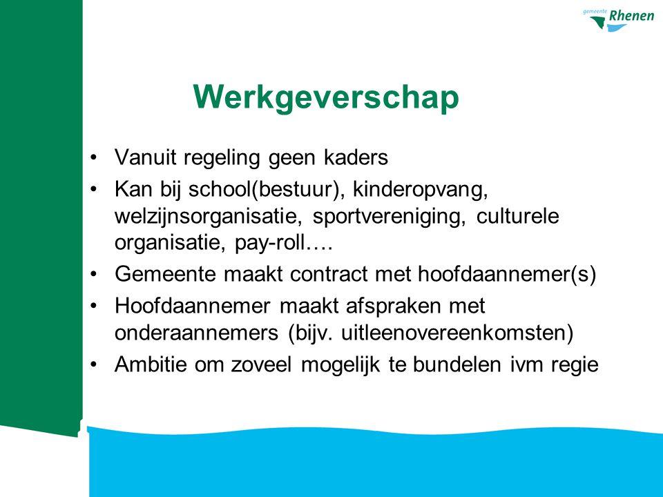Werkgeverschap Vanuit regeling geen kaders Kan bij school(bestuur), kinderopvang, welzijnsorganisatie, sportvereniging, culturele organisatie, pay-rol
