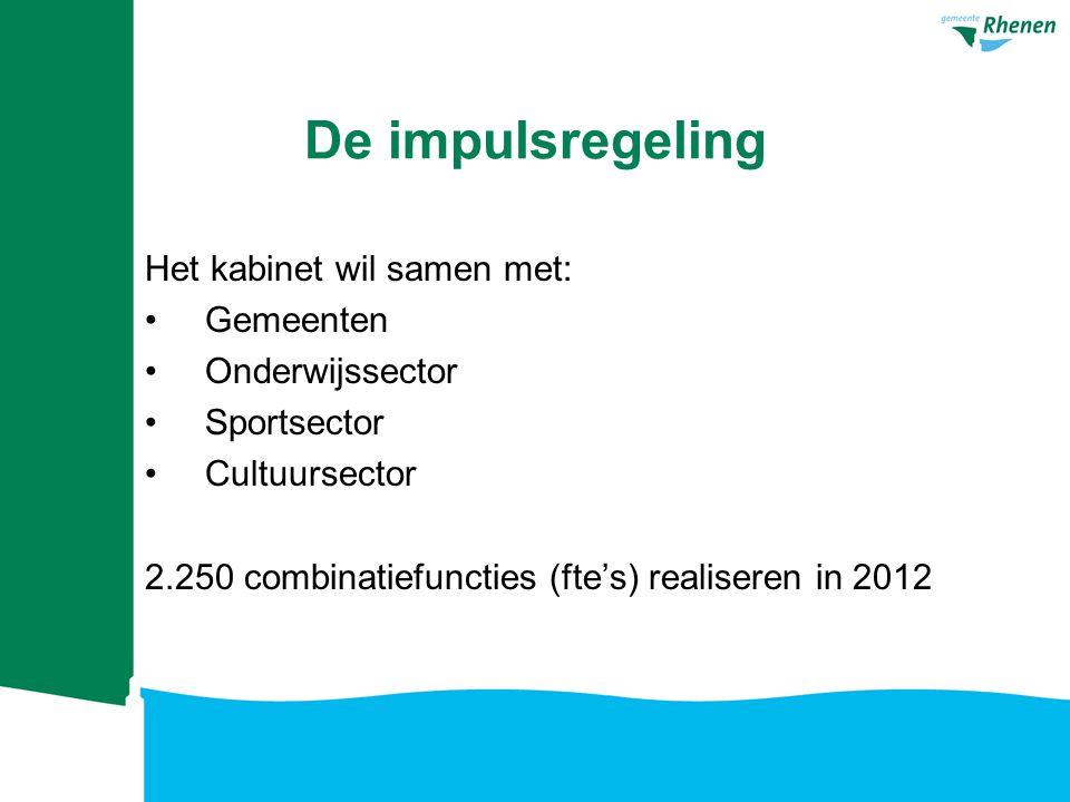 De impulsregeling Het kabinet wil samen met: Gemeenten Onderwijssector Sportsector Cultuursector 2.250 combinatiefuncties (fte's) realiseren in 2012
