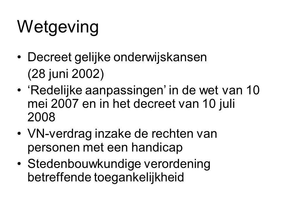Wetgeving Decreet gelijke onderwijskansen (28 juni 2002) 'Redelijke aanpassingen' in de wet van 10 mei 2007 en in het decreet van 10 juli 2008 VN-verd