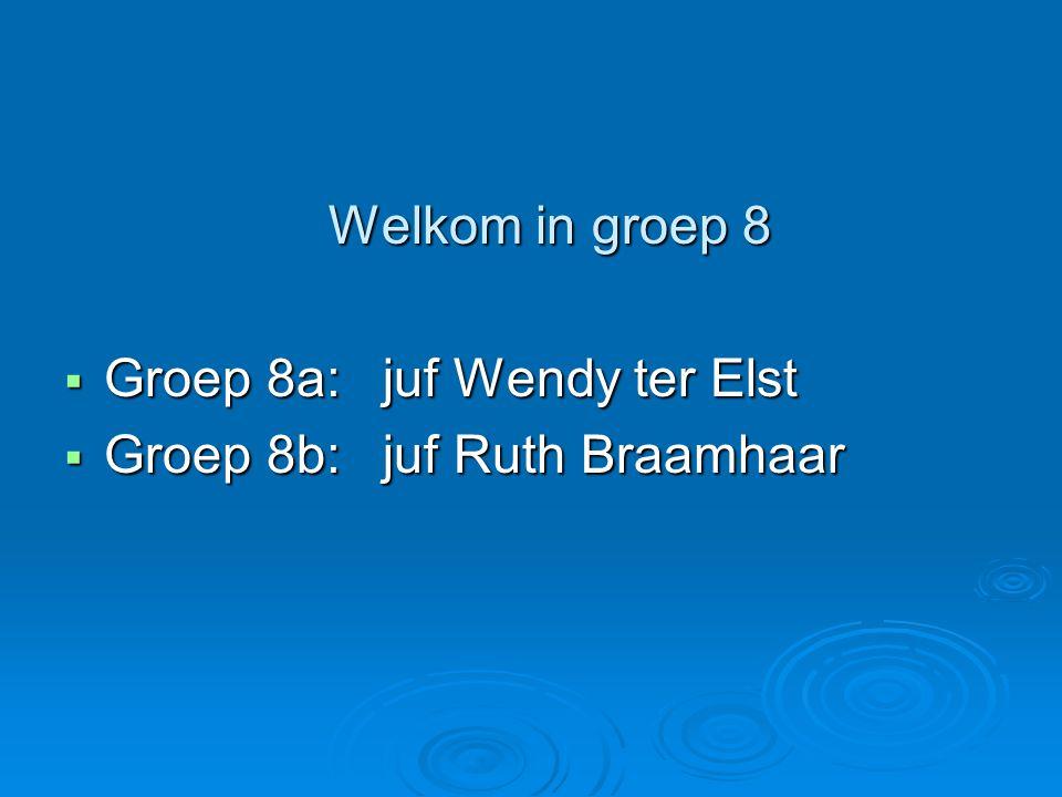 Welkom in groep 8 Welkom in groep 8  Groep 8a:juf Wendy ter Elst  Groep 8b:juf Ruth Braamhaar