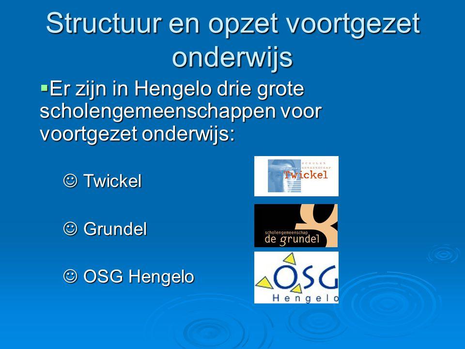 Structuur en opzet voortgezet onderwijs  Er zijn in Hengelo drie grote scholengemeenschappen voor voortgezet onderwijs:  Er zijn in Hengelo drie gro