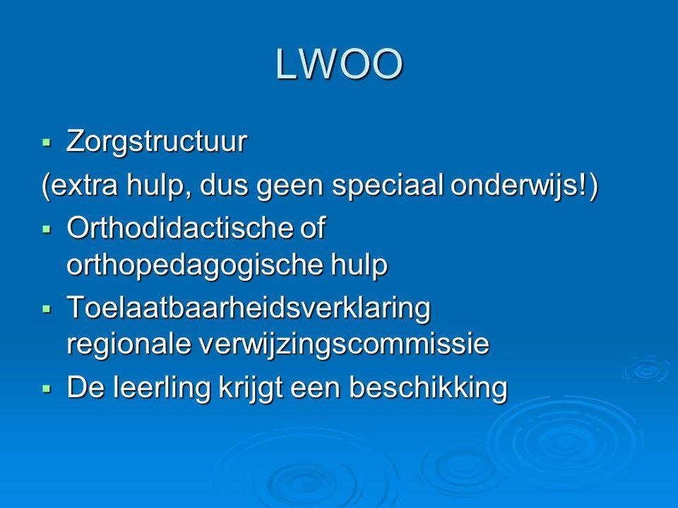 LWOO  Zorgstructuur (extra hulp, dus geen speciaal onderwijs!)  Orthodidactische of orthopedagogische hulp  Toelaatbaarheidsverklaring regionale ve