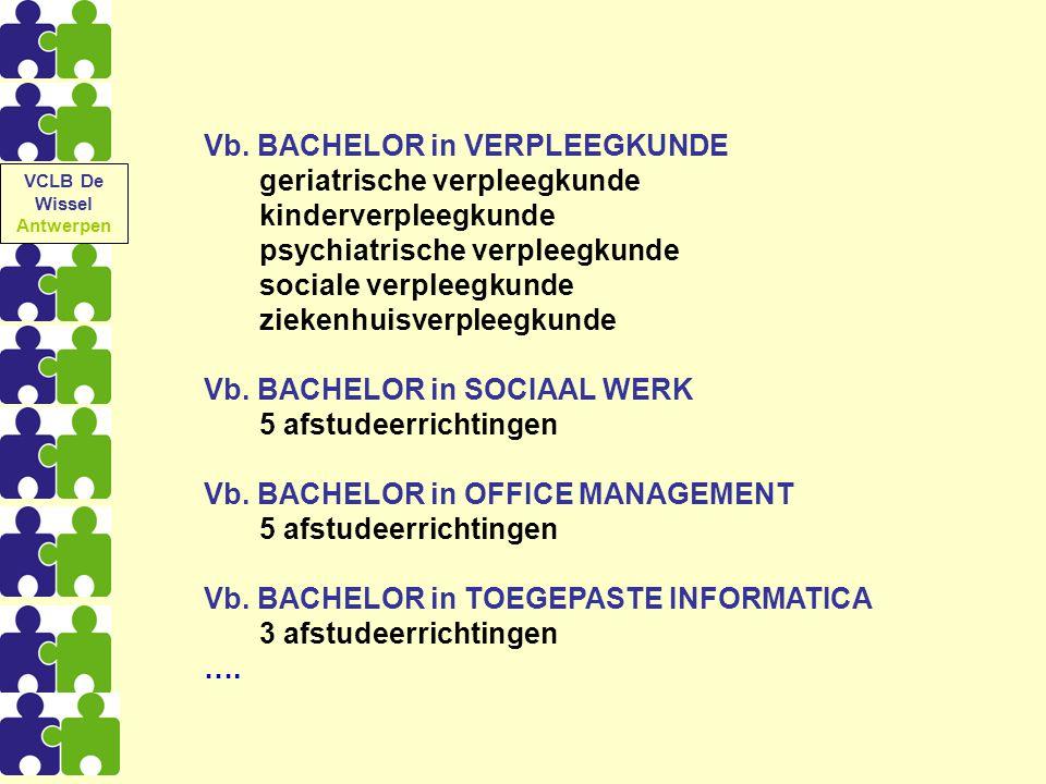 Vb. BACHELOR in VERPLEEGKUNDE geriatrische verpleegkunde kinderverpleegkunde psychiatrische verpleegkunde sociale verpleegkunde ziekenhuisverpleegkund