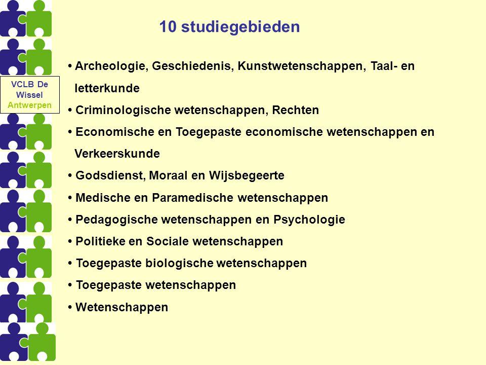 10 studiegebieden Archeologie, Geschiedenis, Kunstwetenschappen, Taal- en letterkunde Criminologische wetenschappen, Rechten Economische en Toegepaste