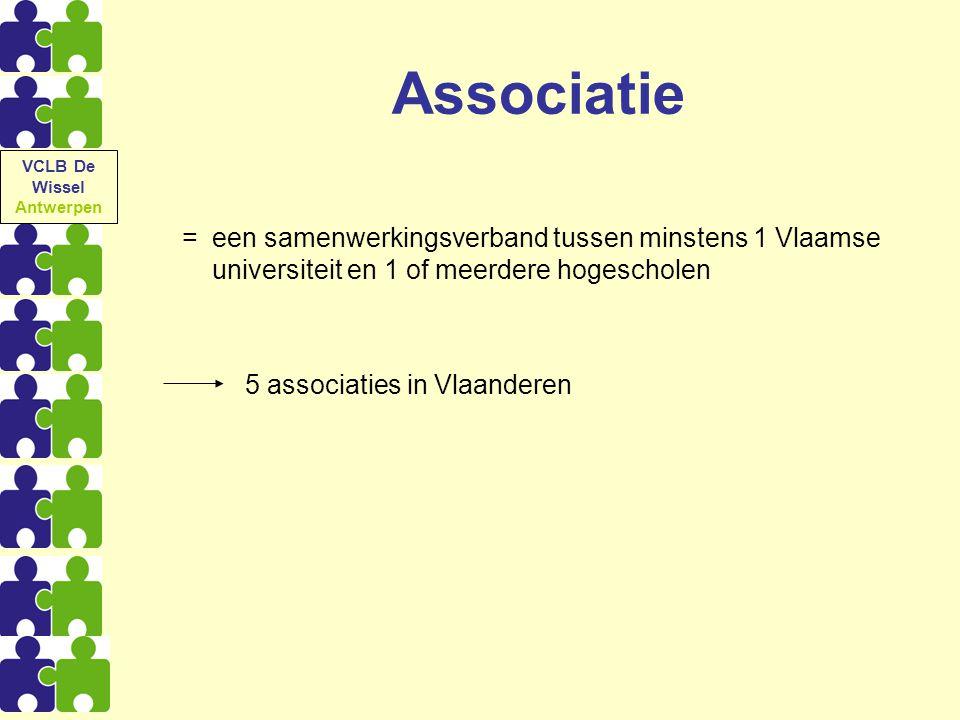 Associatie = een samenwerkingsverband tussen minstens 1 Vlaamse universiteit en 1 of meerdere hogescholen 5 associaties in Vlaanderen VCLB De Wissel A