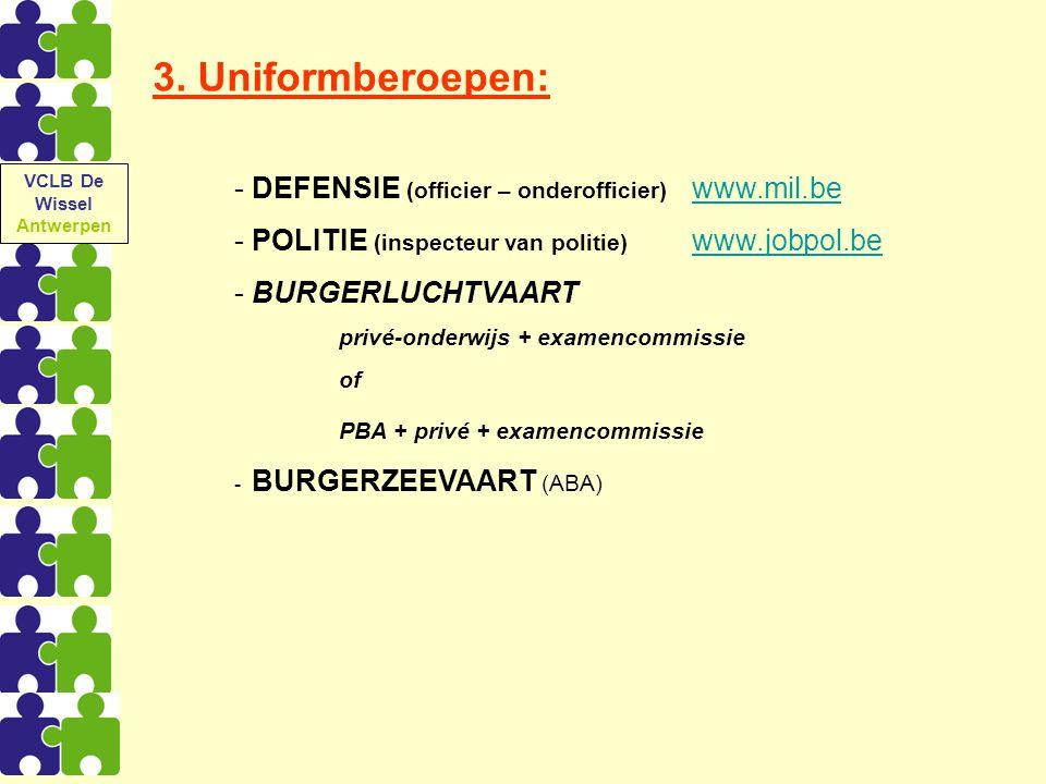 3. Uniformberoepen: - DEFENSIE (officier – onderofficier) www.mil.bewww.mil.be - POLITIE (inspecteur van politie) www.jobpol.bewww.jobpol.be - BURGERL