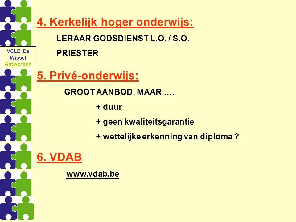 6. VDAB www.vdab.be 5. Privé-onderwijs: GROOT AANBOD, MAAR …. + duur + geen kwaliteitsgarantie + wettelijke erkenning van diploma ? 4. Kerkelijk hoger