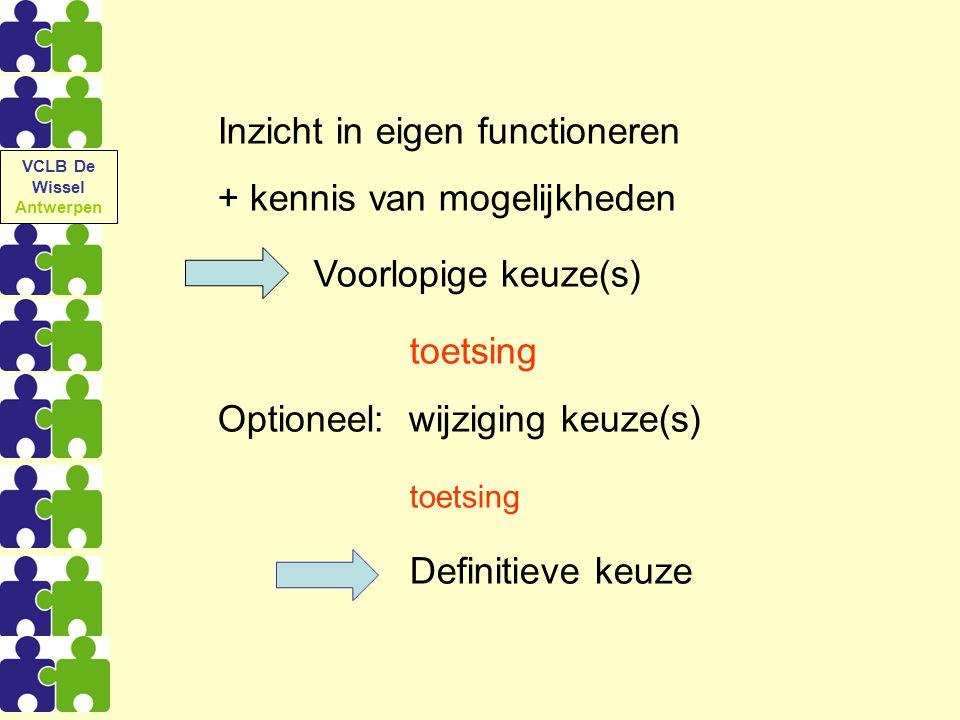 Inzicht in eigen functioneren + kennis van mogelijkheden Voorlopige keuze(s) toetsing Optioneel: wijziging keuze(s) toetsing Definitieve keuze VCLB De