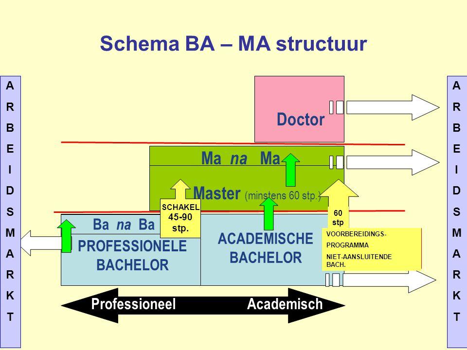 Schema BA – MA structuur PROFESSIONELE BACHELOR ACADEMISCHE BACHELOR Master (minstens 60 stp.) Ma na Ma Ba na Ba Doctor ProfessioneelAcademisch SCHAKE